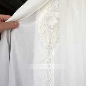 Image of White Chiffon Halter Neck Lace Beach Vacation Splicing Maxi Dress