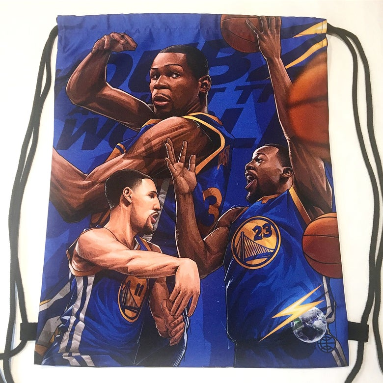 "Image of ""GSW BLUE"" DRAWSTRING BAG"