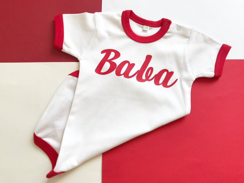 Image of Red and white retro styled mama tee/baba grow