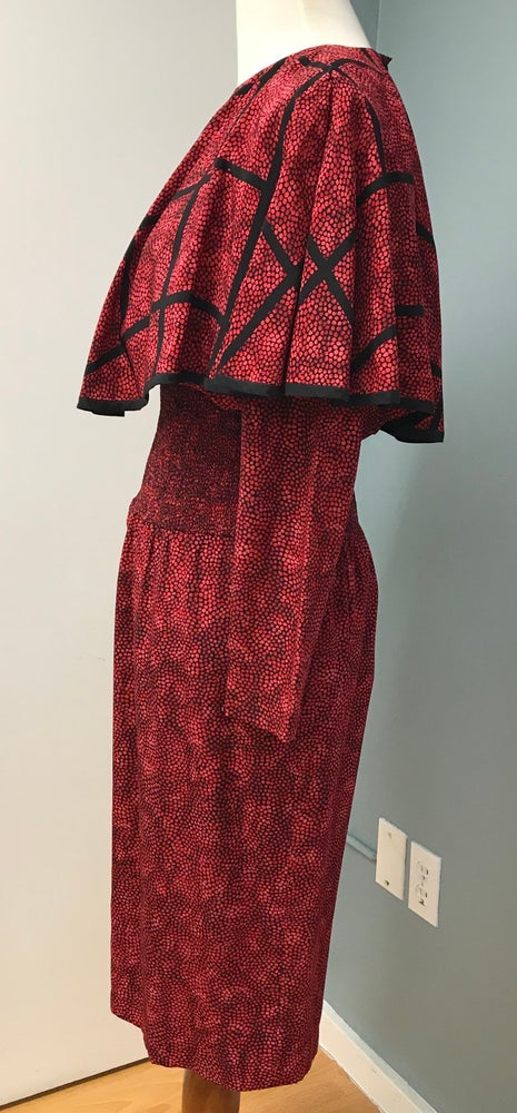Image of Long Sleeve 80's Red Silk Dress With Built In Cape <del> 150.00 </del>