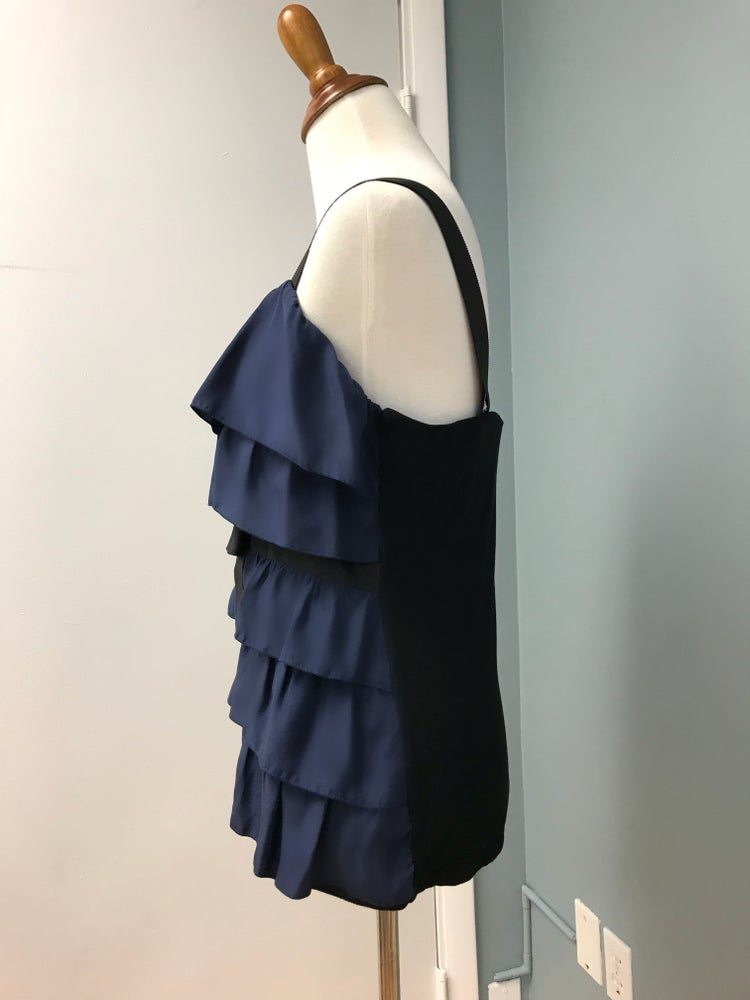 Image of Navy Blue Ruffle Top