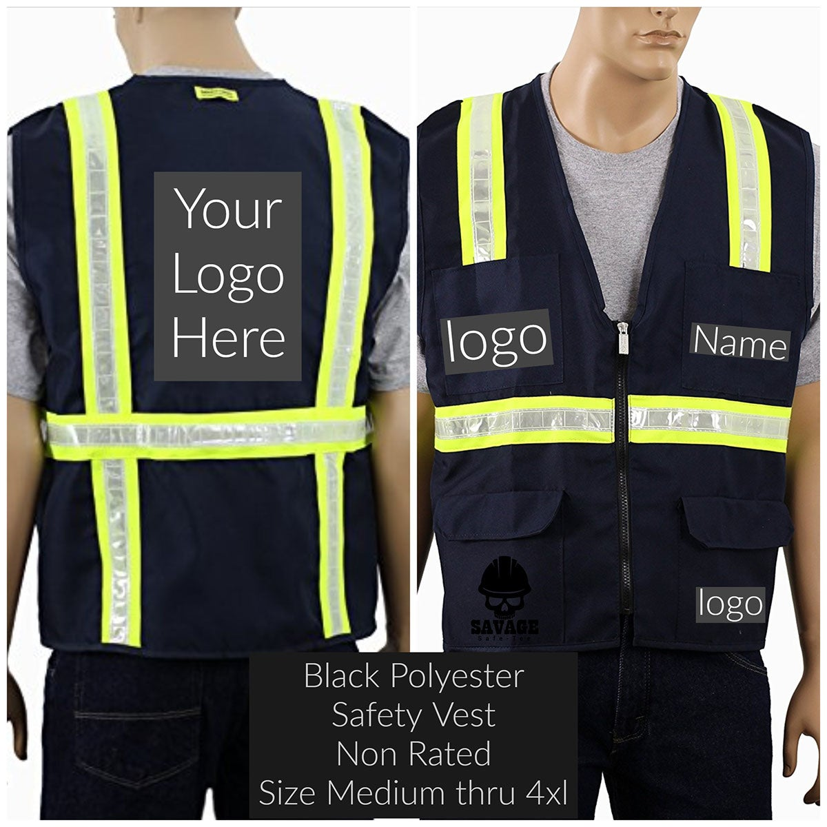 Black polyester custom safety vest