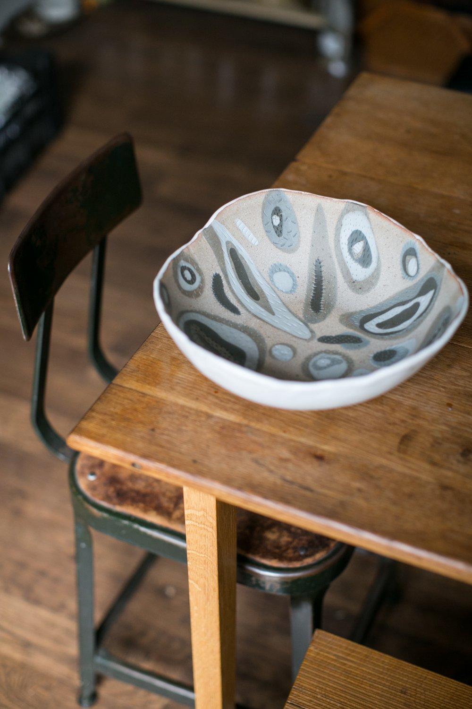 Image of Large Grey Porcelain inlay fruit bowl