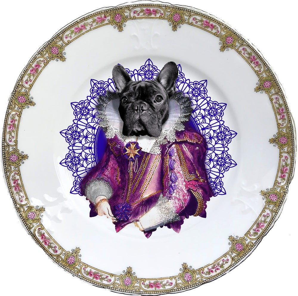 Image of Lady Blondie - Vintage Porcelain plate - Frenchie Bulldog- #0605