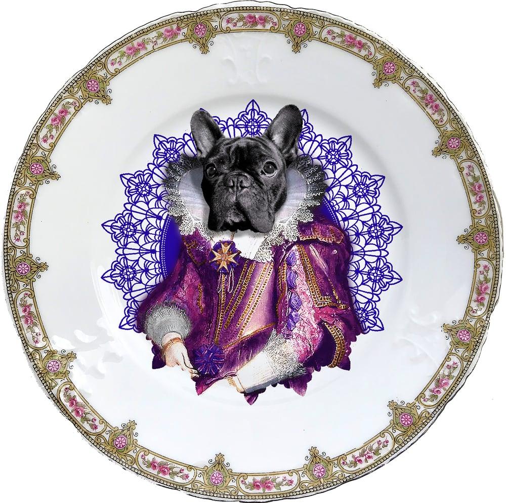 Image of Lady Blondie - Vintage Porcelain plate - Frenchie Bulldog- #0605