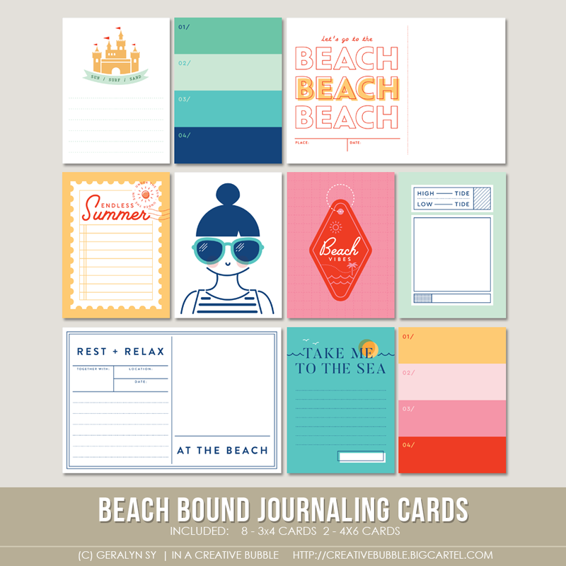 Image of Beach Bound Journaling Cards (Digital)