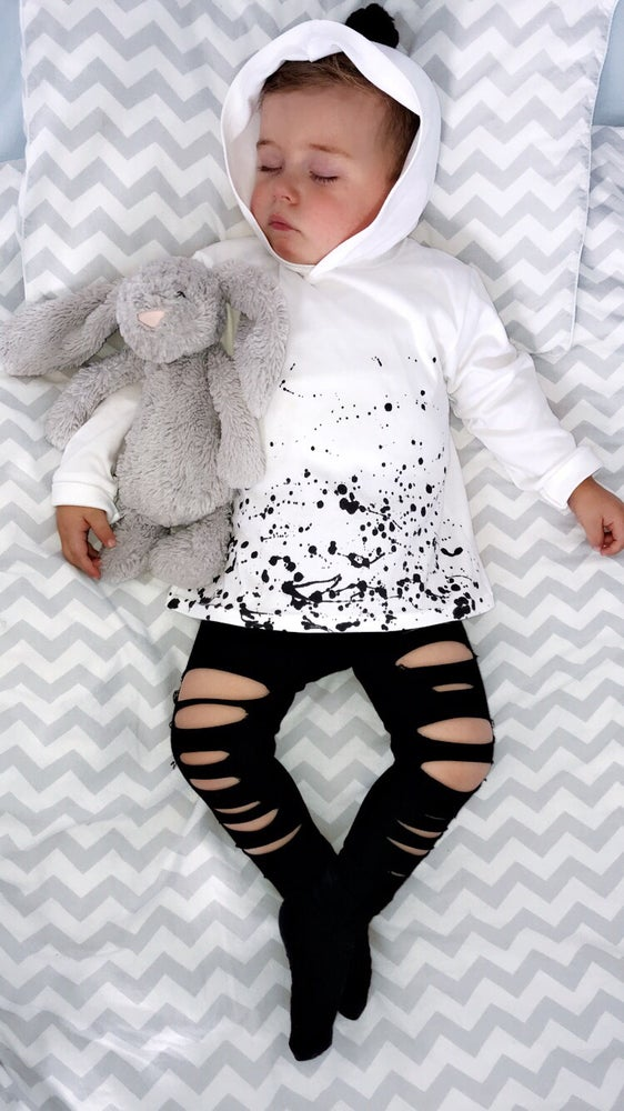 Image of  White Pom Pom Splat Hoodies