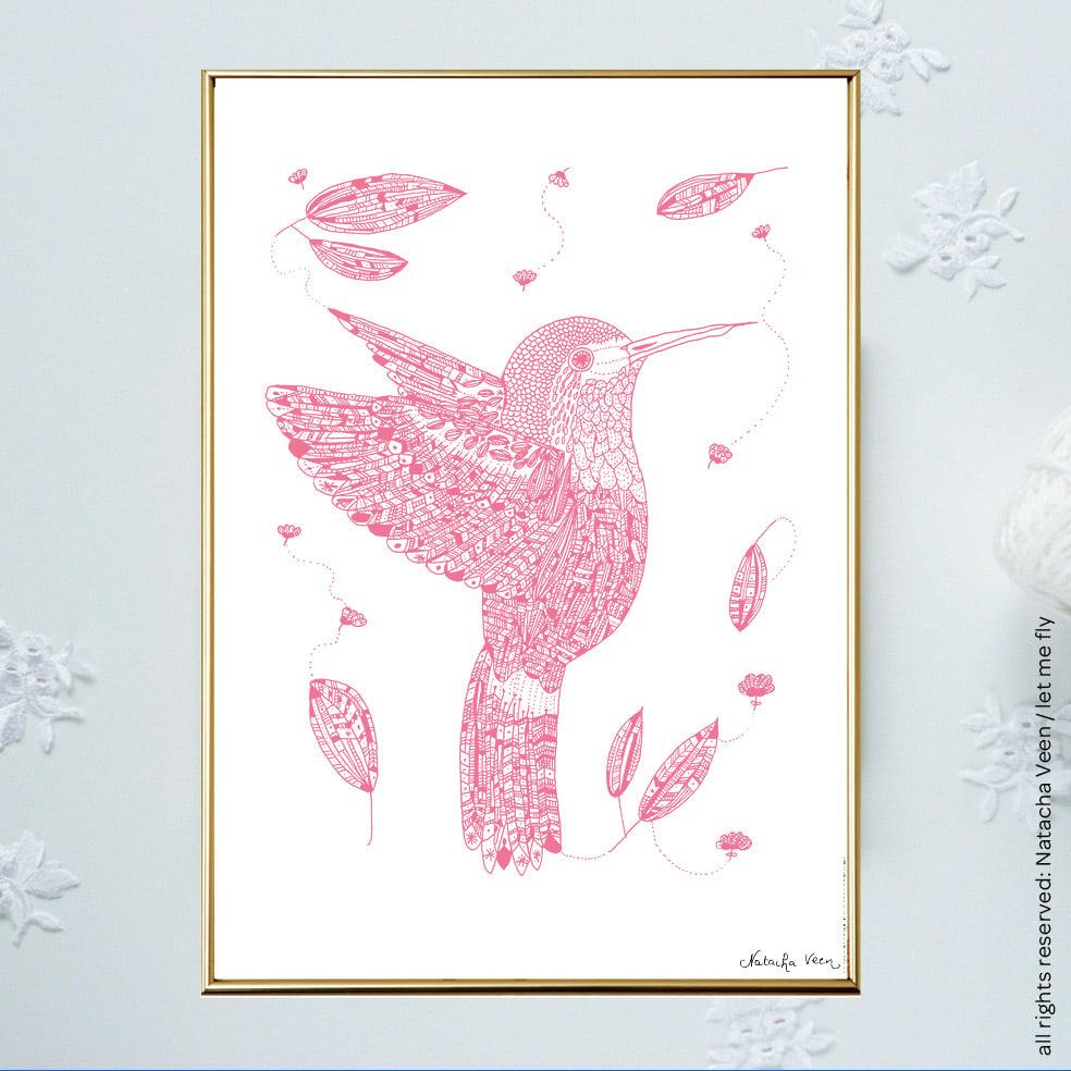Image of Pink *Hummingbird*_A3
