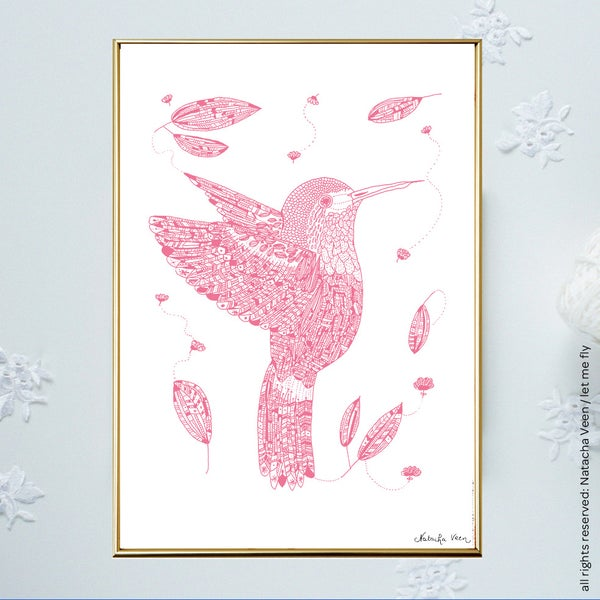 Image of Pink *Hummingbird*_A3