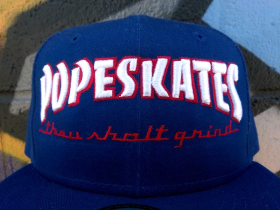 Image of Pope Skates Thou Shalt Grind Hat Blue