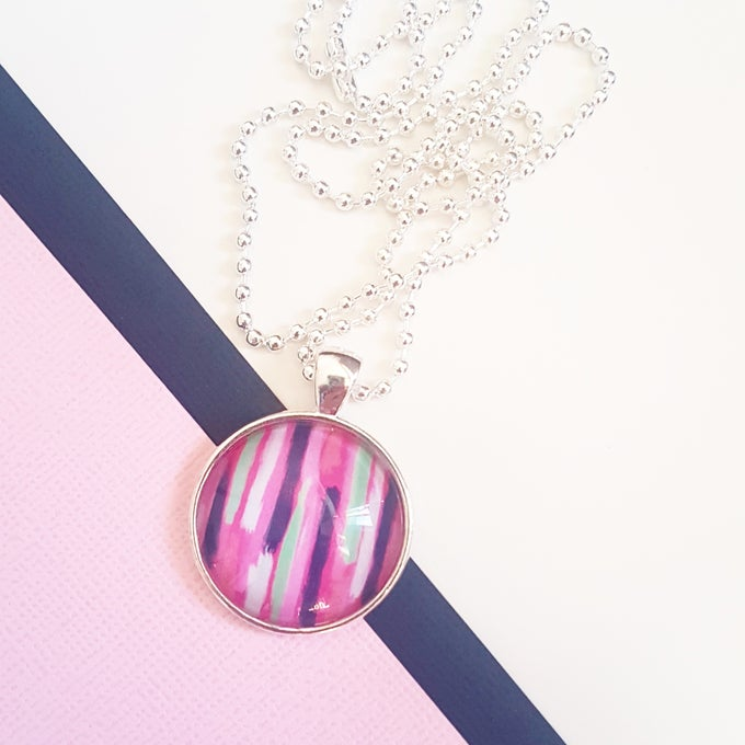 Image of 1inch pendant - Abstract Stripes