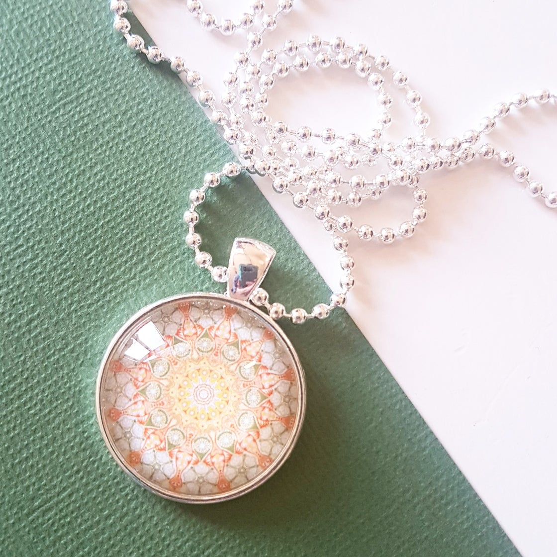 Image of 1inch pendant - Olive/Coral Mandala