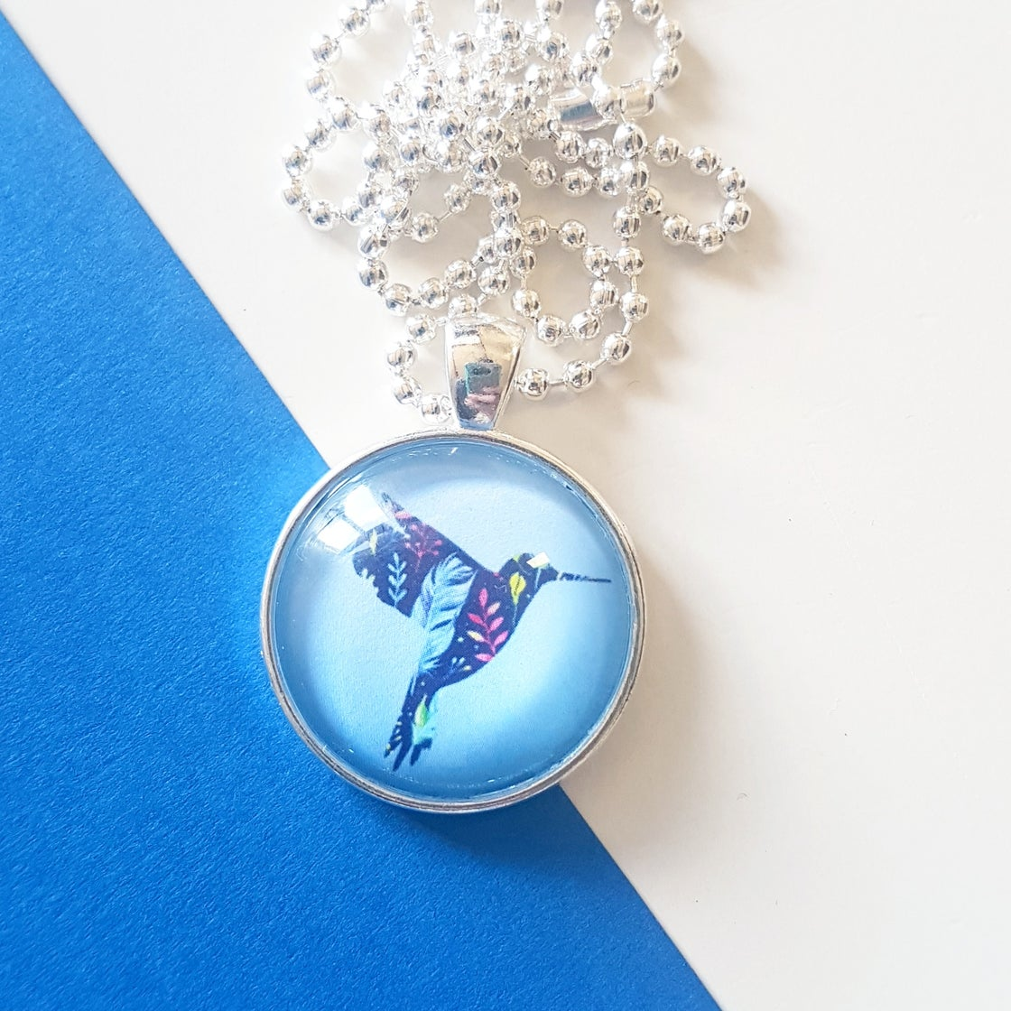 Image of 1inch pendant - Floral Hummingbird