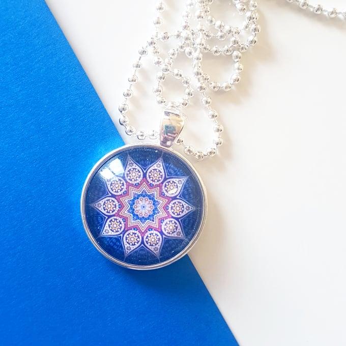 Image of 1inch pendant - Navy Mustard Mandala