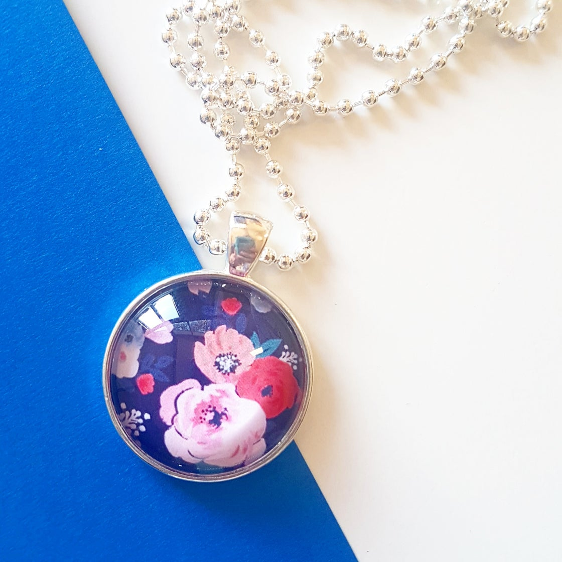 Image of 1inch pendant - Watercolour Floral on Navy