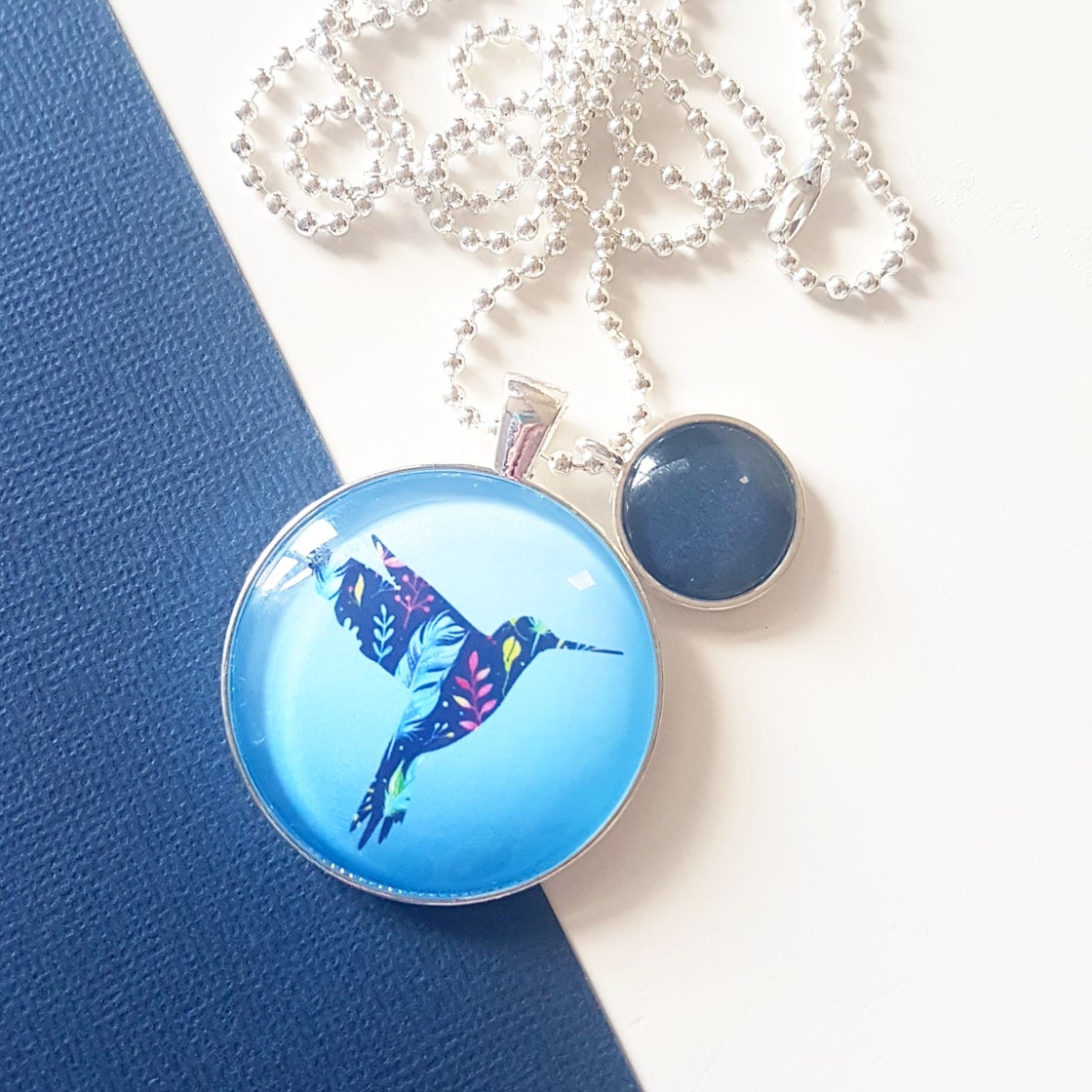 Image of 1.5inch pendant - Floral Hummingbird
