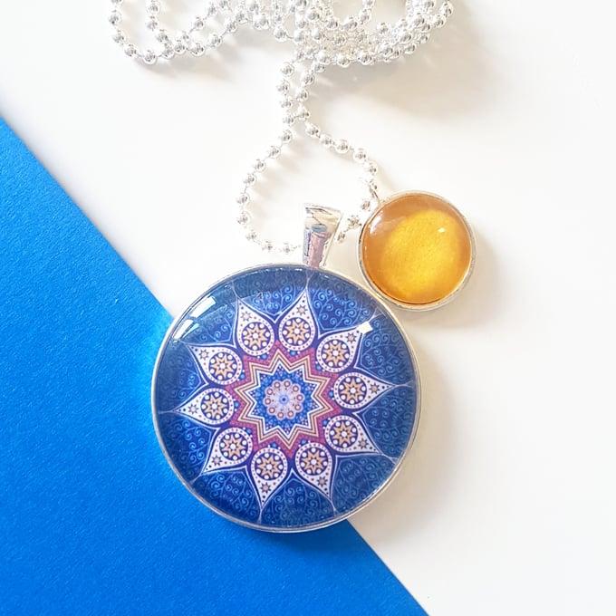 Image of 1.5inch pendant - Navy Mustard Mandala