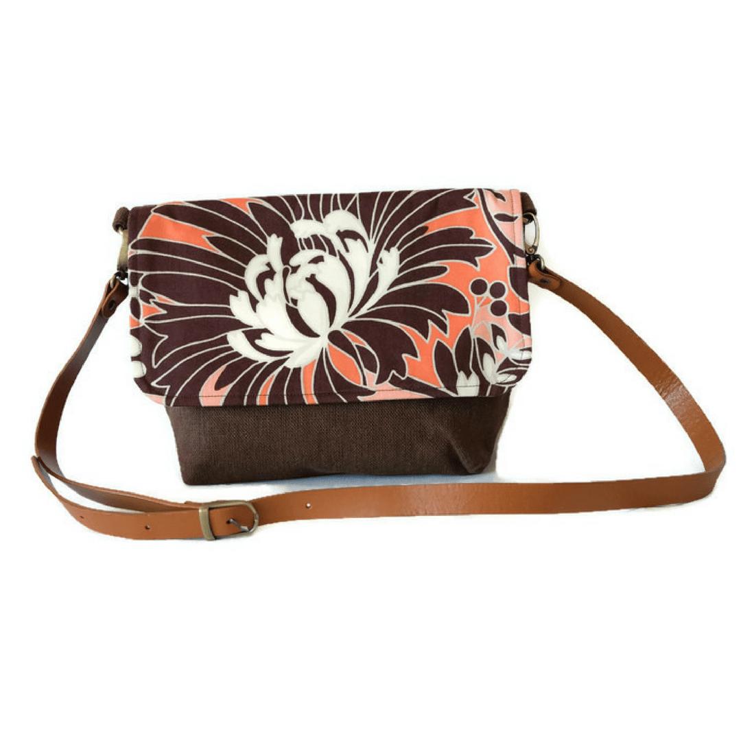 Image of Brown Floral Satchel Messenger Bag