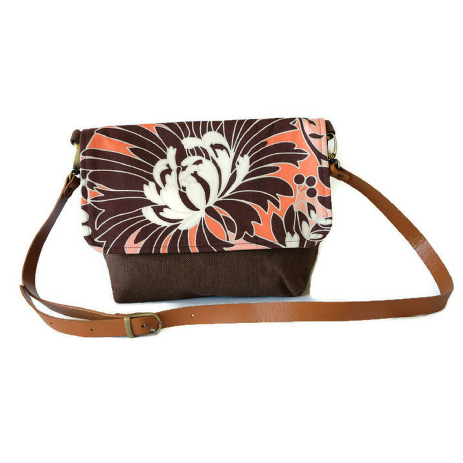 Image of Brown Floral Satchel Messenger Bag