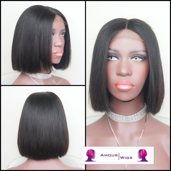 Image of NATURAL BLACK BLUNT CUT BOB WIG
