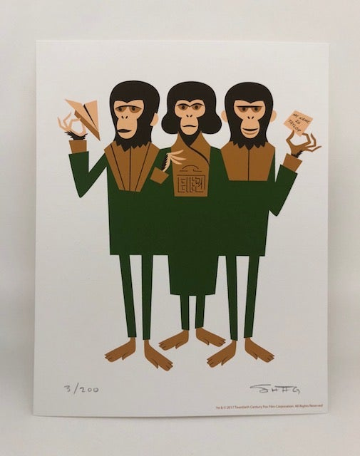 "Image of ""Three Chimps"" <br>L.E. Print & T-Shirt Combo <br>Limited Edition <br>Various T-Shirt Sizes"