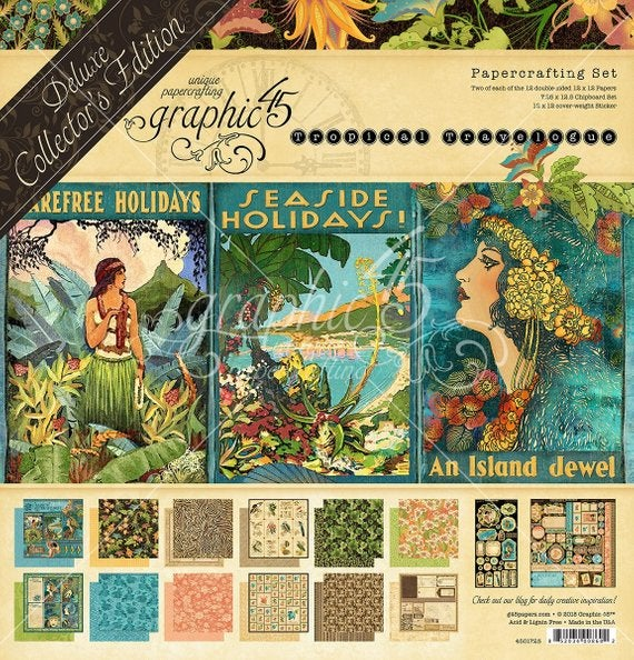 Image of SALE!! Graphic 45 Deluxe Collector's Edition: Tropical Travelogue 12 x 12 Paper Set