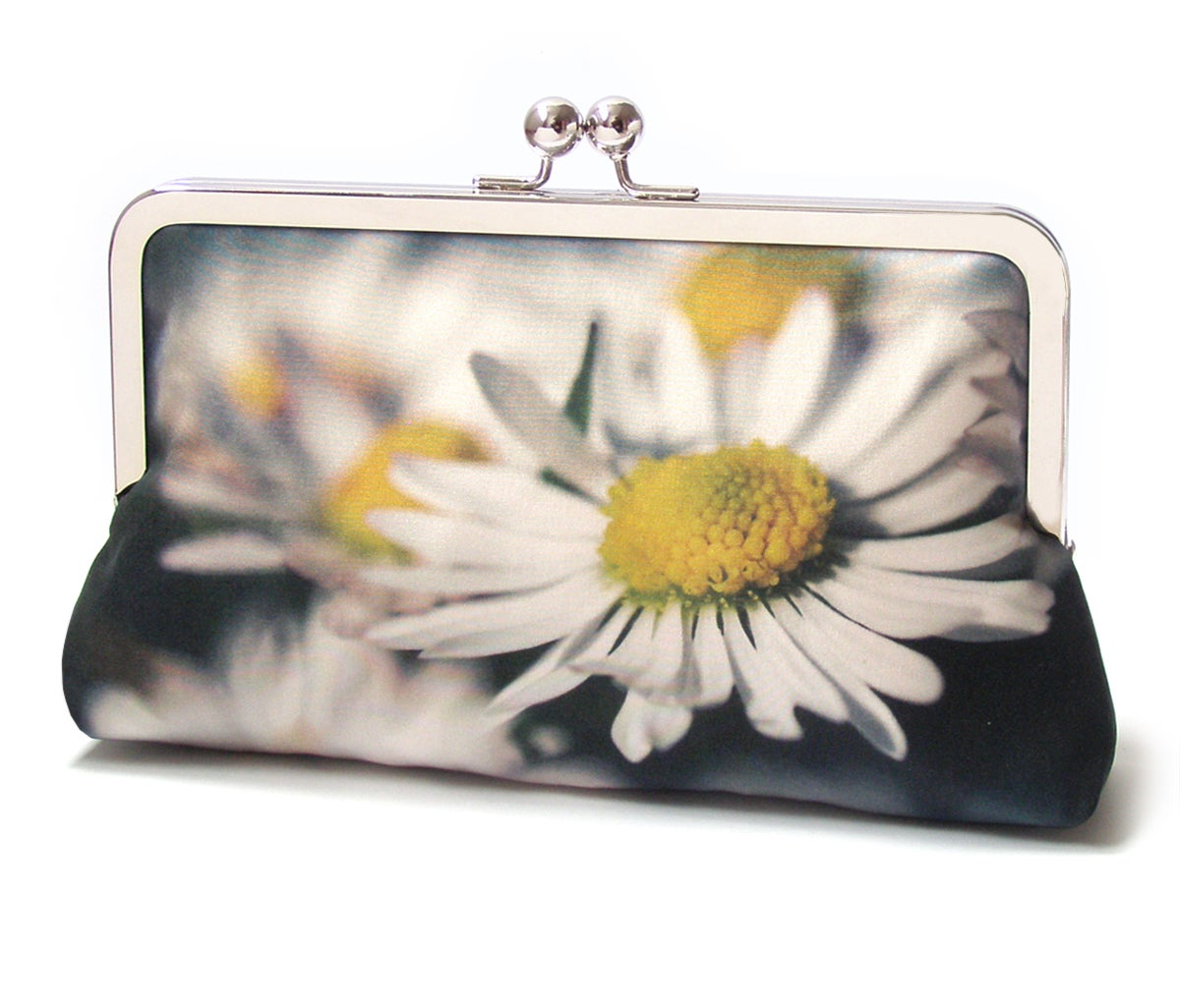 Image of Daisy clutch bag, printed silk purse, white daisy flower, wedding bag, bridesmaid gift, DAISIES