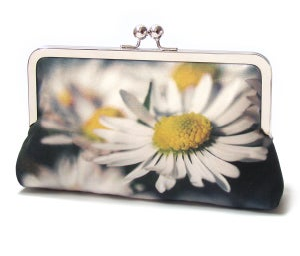 Daisy clutch bag, printed silk purse, white daisy flower, wedding bag, bridesmaid gift, DAISIES - Red Ruby Rose