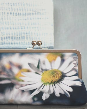 Image of White daisy clutch bag
