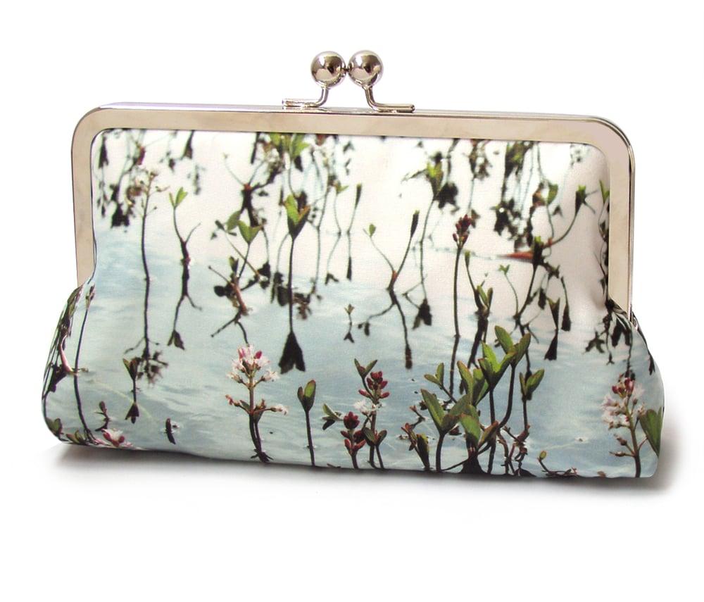 Image of Clutch bag, blue leaf printed silk purse, pink flowers, wedding bag