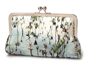 Clutch bag, printed silk purse, blue loch lake, pink flowers, wedding bag, Bogbean   - Red Ruby Rose