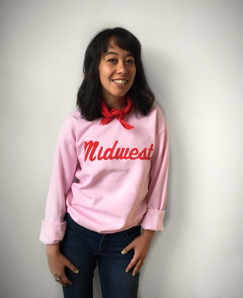 Image of Midwest Unisex Flock Sweatshirt - Pink Edition