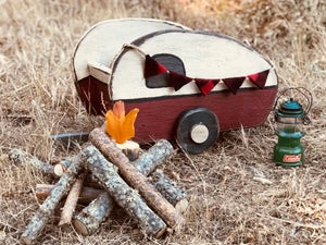 Image of Camp Fire Log Photo Prop, Glamping, Newborn Campfire prop, Childrens Prop, Camping Prop