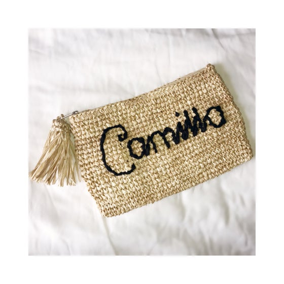 Image of Delilah embroidered raffia clutch