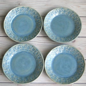 Image of Dessert Dishes in Sea Glass Blue Glaze Handcrafted Dinnerware Set of 4 Made in USA