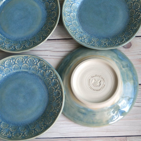 Red White And Blue Auto Sales >> Andover Pottery — Dessert Dishes in Sea Glass Blue Glaze ...