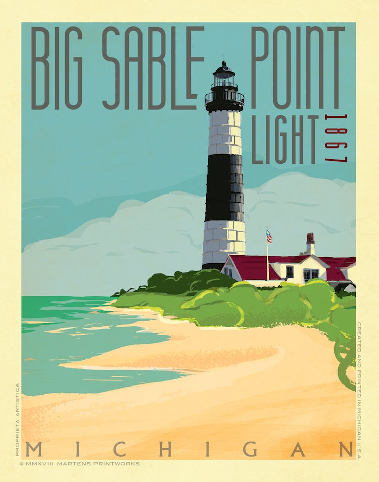 Image of Big Sable Point Light 11x14 Print No. [080]