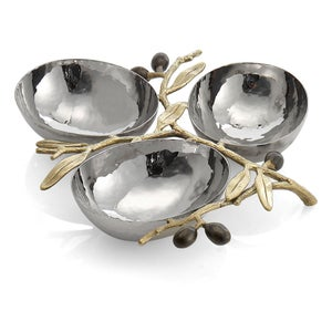 Image of Olive Branch Gold Triple Compartment Dish-SOLD