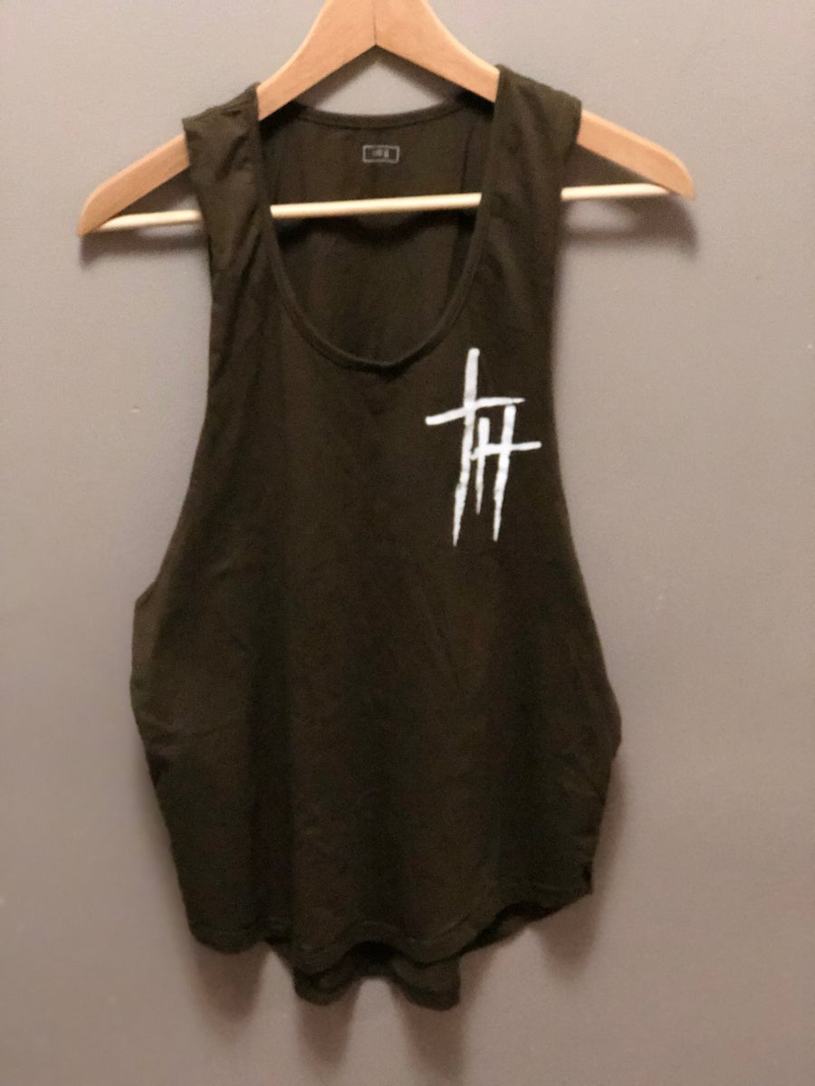 Image of Muscle fit tank-Olive
