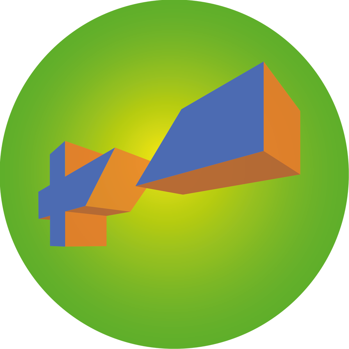 Image of 3 pcs round - green / yellow / blue / orange