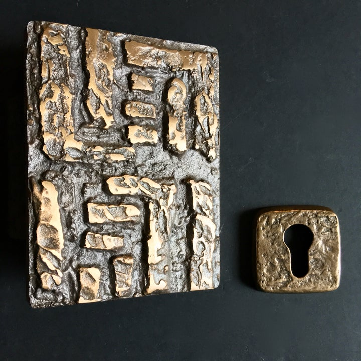 Image of Abstract Bronze Door Handle with Keyhole Cover (Unused)