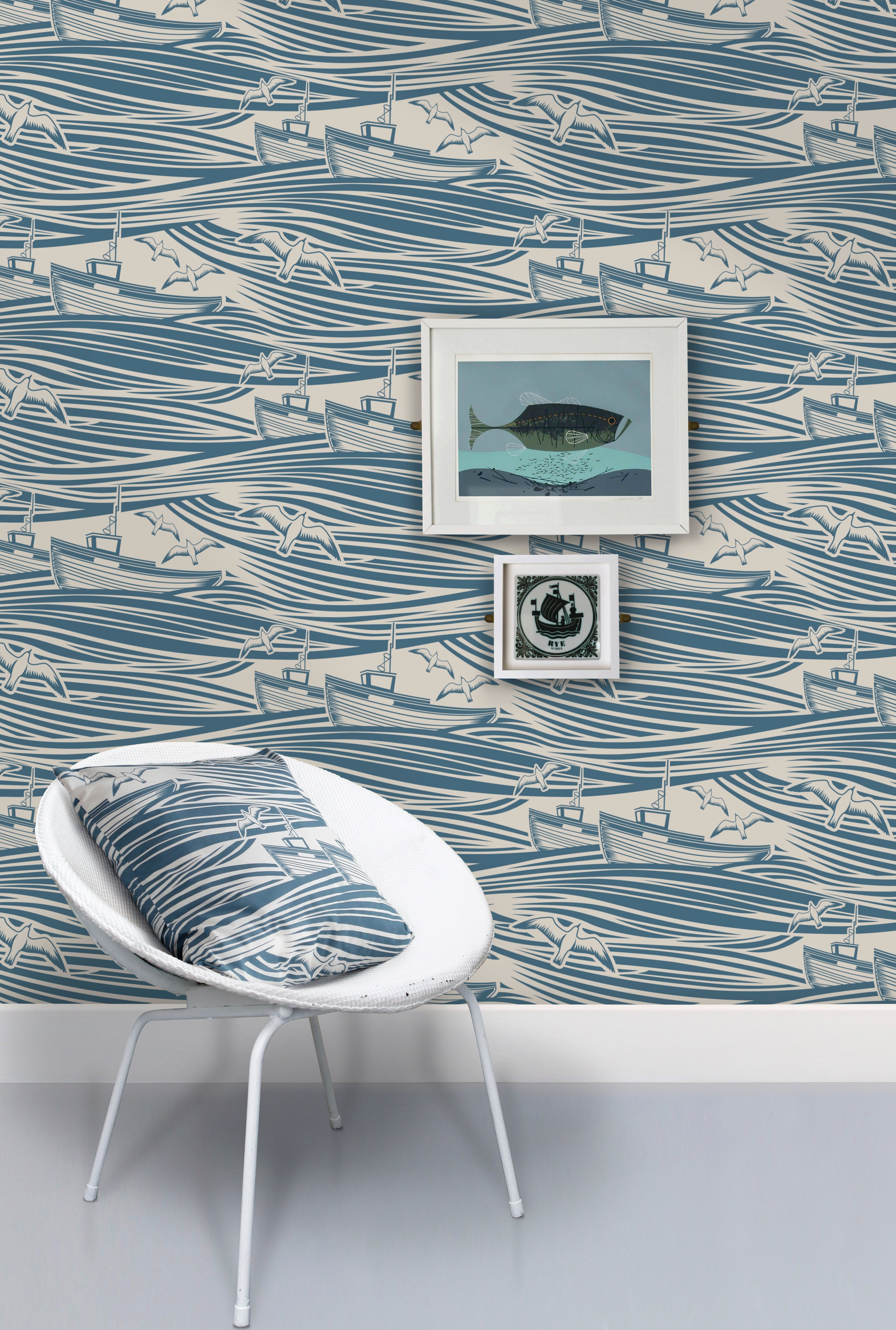 Whitby Wallpaper - hed Denim Special Price £50.00