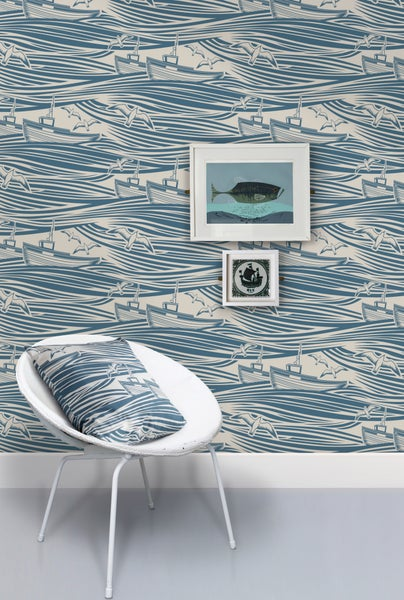 Image of Whitby Wallpaper - Washed Denim