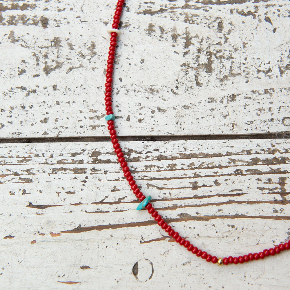 Image of Glass bead necklace with turquoise gem stone