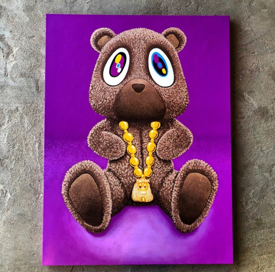 "Image of ""GRADUATION KANYE BEAR"" 30""x40"" ORIGINAL CANVAS"