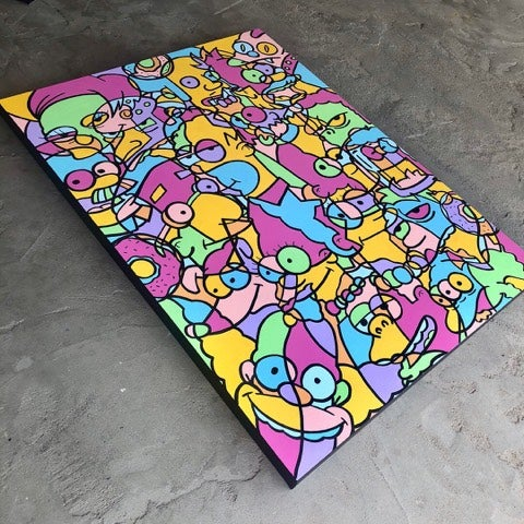 "Image of ""SIMPSONS"" 30""x40"" ORIGINAL CANVAS"