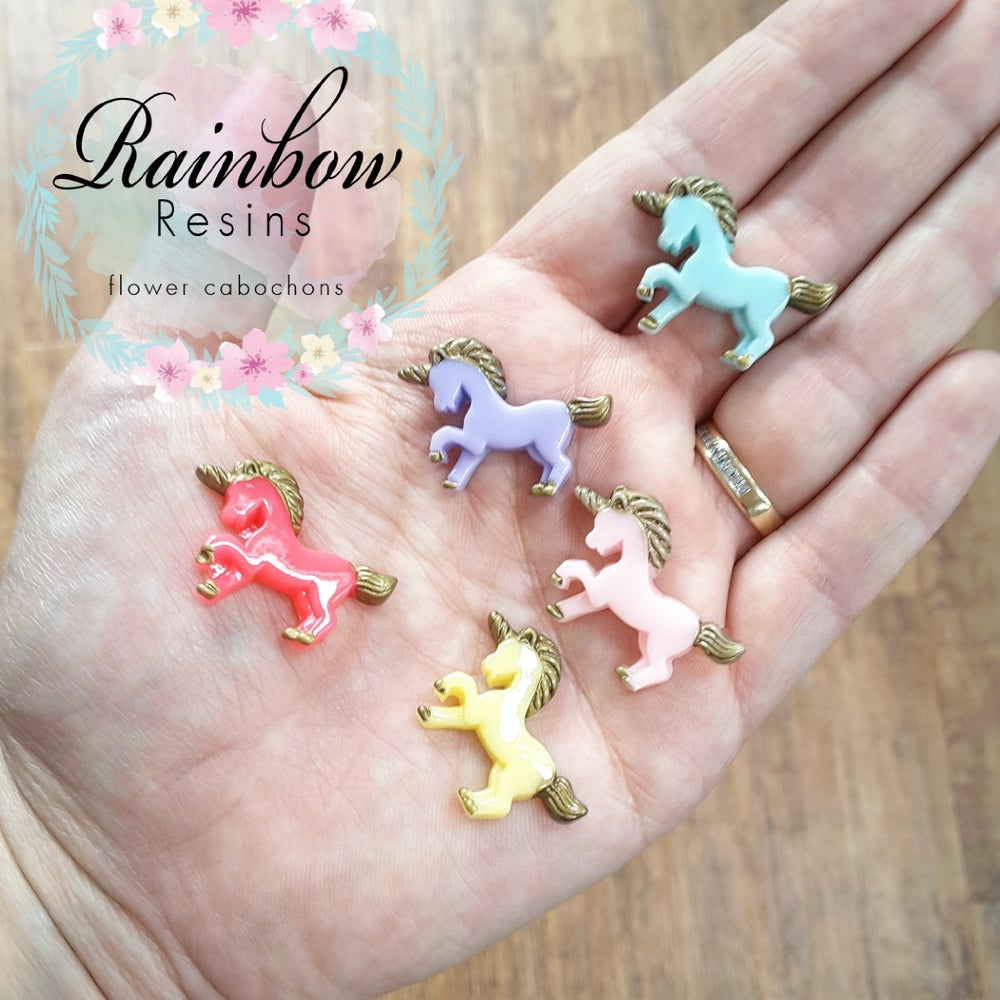 Image of Unicorn style 3 resin flatbacks x 5