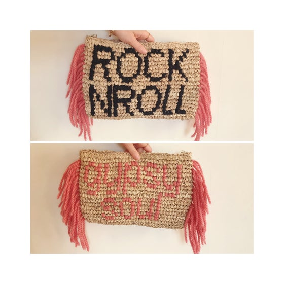 Image of ROCK N ROLL gypsy soul fringed raffia clutch