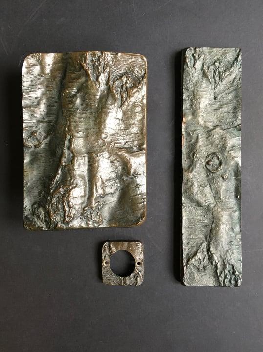 Image of Brutalist Bronze Door Handles & Fittings with Tree Bark Motif