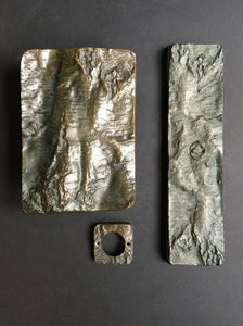 Image of Brutalist Bronze Door Handle & Fittings with Tree Bark Motif